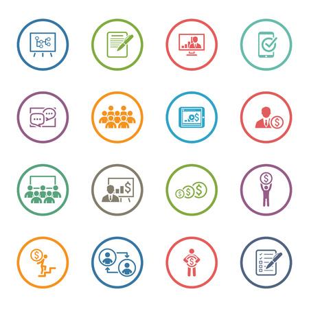Coaching de Negocios Icon Set. Aprender en línea. Diseño plano. Ilustración aislada. Foto de archivo - 44815793