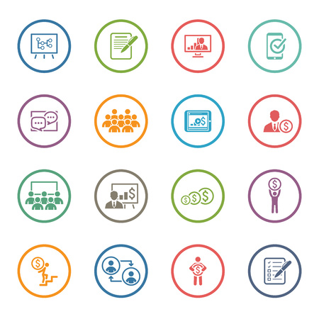 Business Coaching Icon Set. Online Learning. Flat Design. Isolated Illustration. Vettoriali