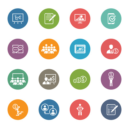 Business Coaching Icon Set. Online Learning. Flat Design. Isolated Illustration. Çizim