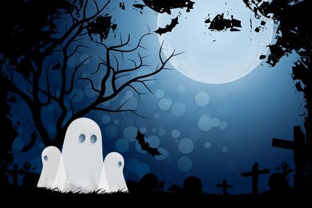 ハロウィンの背景にゴースト、草の墓地