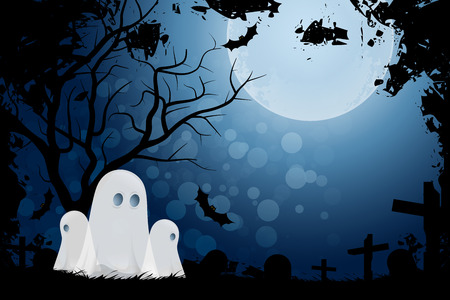Halloween Background with Ghost and Graveyard in Grass