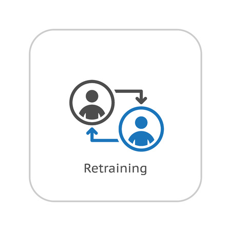 Retraining Icon. Business Concept. Flat Design. Isolated Illustration.