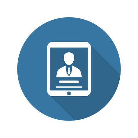 Business Profile Icon. Business Concept. Flat Design. Long Shadow. Isolated Illustration.