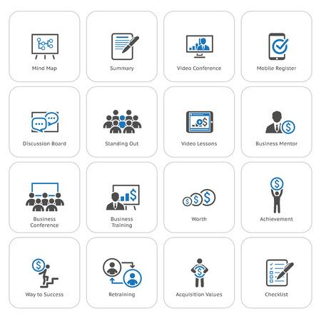 Business Coaching Icon Set. Online Learning. Flat Design. Isolated Illustration. 일러스트