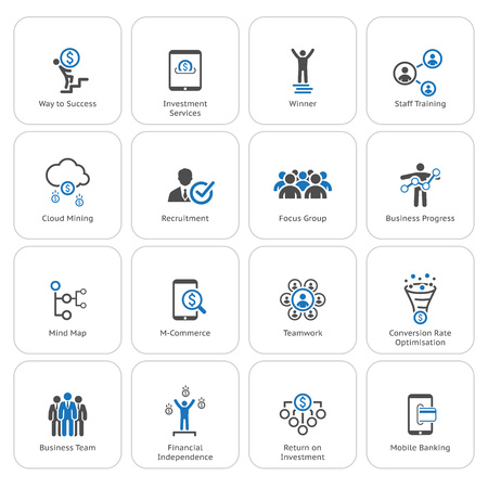 Flat Design Icons Set. Icons for business, management, finance, strategy, planning, analytics, banking, communication, social network, affiliate marketing.