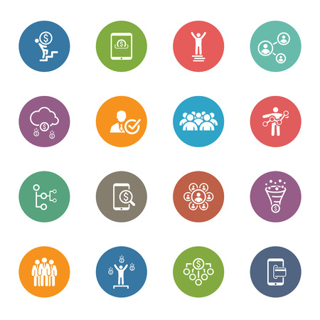 Flat Design Icons Set. Pictogrammen voor het bedrijfsleven, management, financiën, strategie, planning, analyse, het bankwezen, communicatie, sociaal netwerk, affiliate marketing.