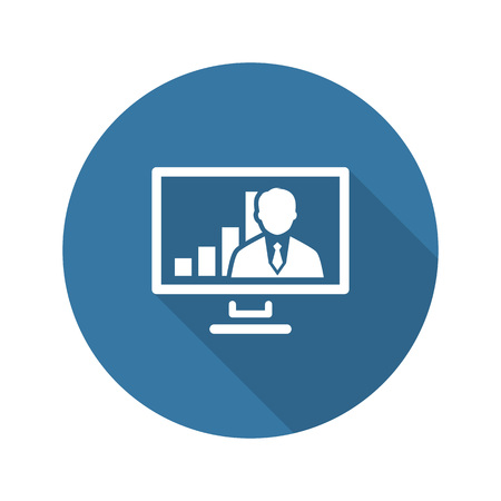 Video Conference Icon. Business Concept. Flat Design. Isolated Illustration. Long Shadow.