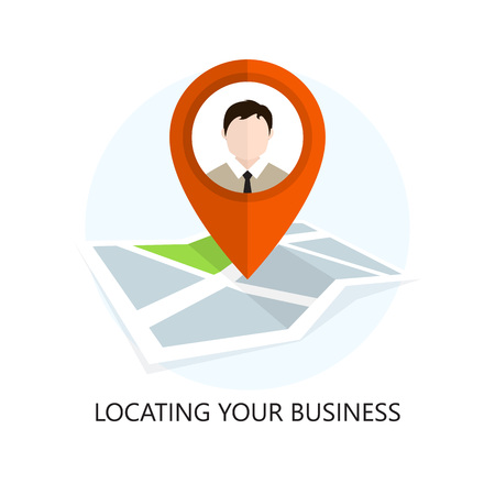 場所のアイコン。あなたのビジネスを検索します。フラットなデザイン。孤立した図。