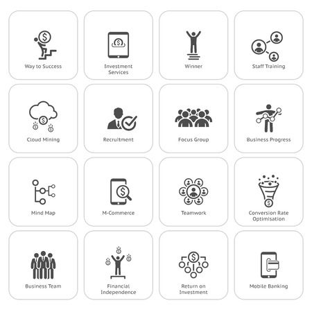 Flat Design Icons Set. Pictogrammen voor het bedrijfsleven. Stockfoto - 45248573