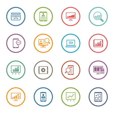 Flat Colored Business Icon Set. Isolated Illustration.