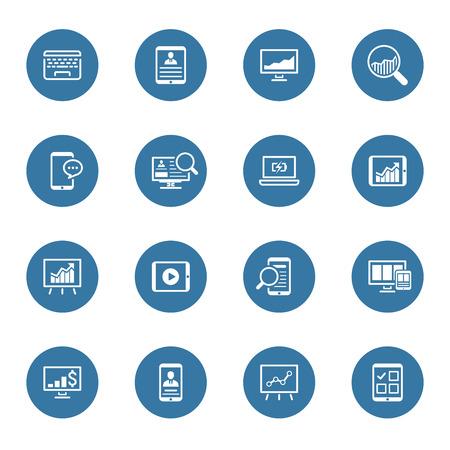 Negocios y Finanzas Icons Set. Diseño plano. Ilustración aislada. Ilustración de vector
