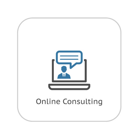 Online Consulting Icon. Business Concept. Flat Design. Isolated Illustration. 矢量图像
