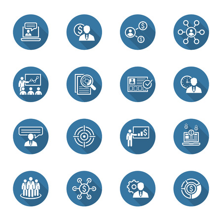 Business and Finances Icons Set. Flat Design. Isolated Illustration. Long Shadow.