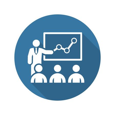 Ikona szkolenia. Business Concept. Płaska. Izolowane ilustracji. Long Shadow.