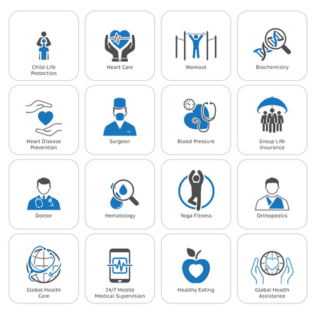 Medical and Health Care Icons Set. Flat Design. Isolated. Illustration