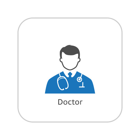 Doctor Icon. Flat Design. Isolated Illustration. Two color.