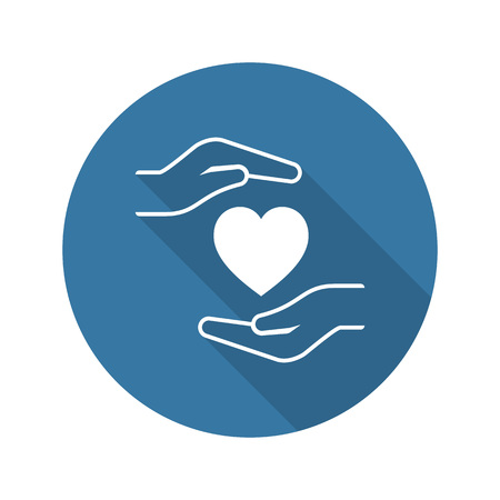Heart Disease Prevention Icon. Flat Design. Isolated Illustration. Long Shadow.