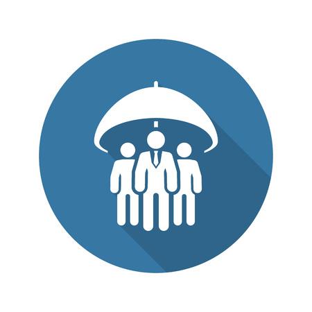グループ生命保険アイコン。フラットなデザイン。孤立した図。長い影。