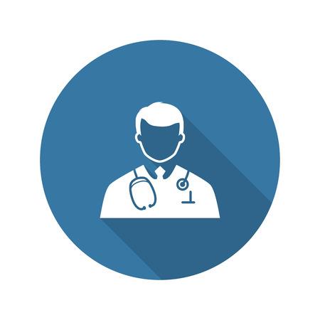 Doctor Icon. Plat ontwerp. Geïsoleerde illustratie. Long Shadow. Stockfoto - 45881329
