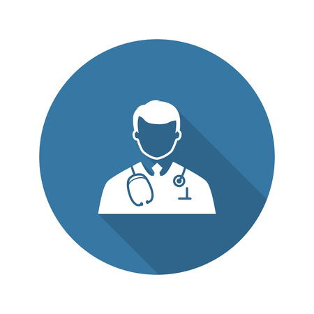 Doctor Icon. Flat Design. Isolated Illustration. Long Shadow. Vectores