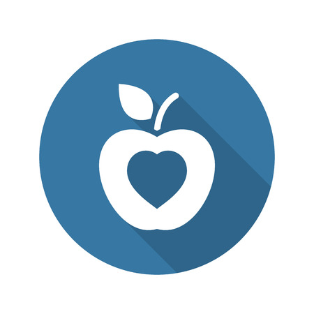 Healthy Eating Icon. Flat Design. Isolated Illustration. Long Shadow.  イラスト・ベクター素材