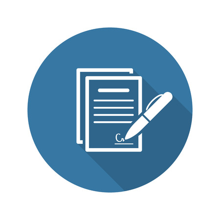 Signing Contract Icon. Business Concept. Flat Design. Isolated Illustration.