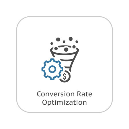 Conversion Rate Optimisation Icon. Business Concept. Flat Design.  Isolated Illustration. Çizim