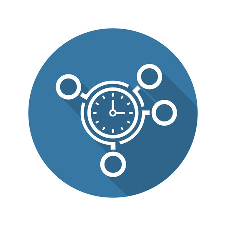 Time Management Icoon. Business Concept. Flat Design. Geïsoleerde Illustratie. Stock Illustratie