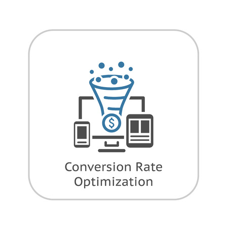 Conversion Rate Optimisation Icon. Business Concept.  Isolated illustration.