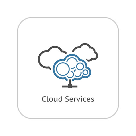 Cloud Services Icon. Flat Design. Business Concept. Isolated Illustration.