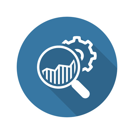 Market Research Icon. Flat Design. Isolated Illustration. Vectores