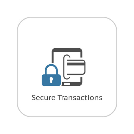 Secure Transactions Icon. Flat Design. Business Concept. Isolated Illustration.
