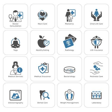 Medizinische und Gesundheitspflege Ikonen eingestellt. Flaches Design. Isolierte Illustration. Standard-Bild - 48455711