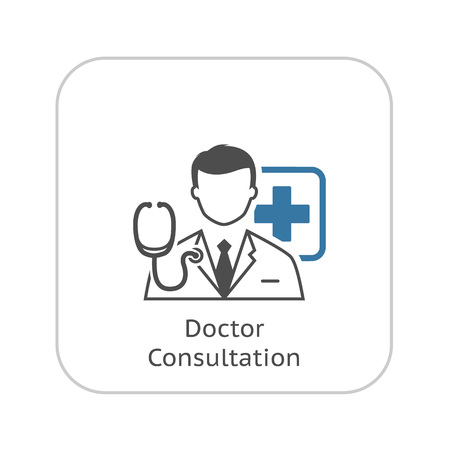 Doctor Consultation Icon. Flat Design. Isolated. 矢量图像