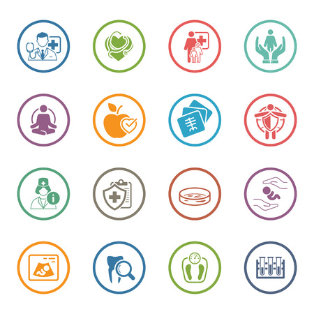 Medical and Health Care Icons Set. Flat Design. Isolated Illustration.