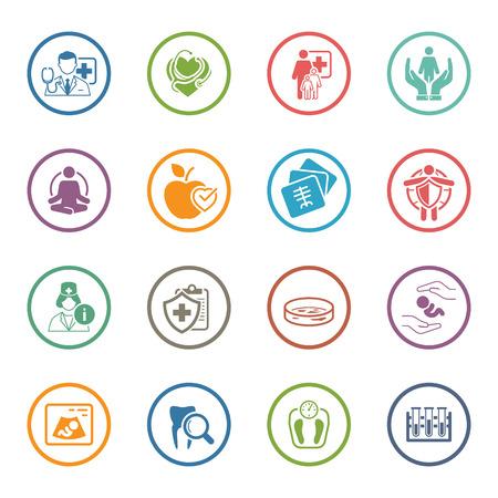 Medische en gezondheidszorg Icons Set. Plat ontwerp. Geïsoleerde illustratie.