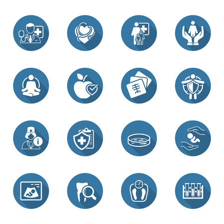 Medical and Health Care Icons Set with Shadow. Flat Design. Isolated Illustration. Vectores