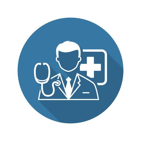 Doctor Overleg icoon met Shadow. Plat ontwerp. Geïsoleerd. Stockfoto - 48455983