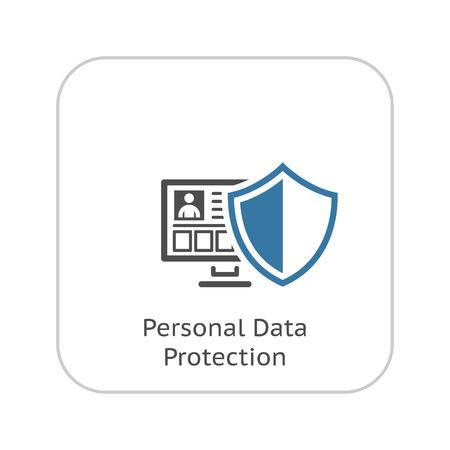 Icône de protection des données personnelles. Conception plat. Concept d'affaire. Illustration isolé. Banque d'images - 48847346