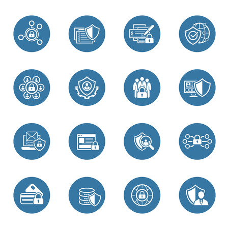 Flat Design Protection and Security Icons Set.  Isolated Illustration.