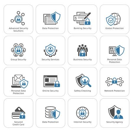 Płaski Ochrona Projektowanie i zestaw ikon bezpieczeństwa. Izolowane ilustracji. Ilustracje wektorowe