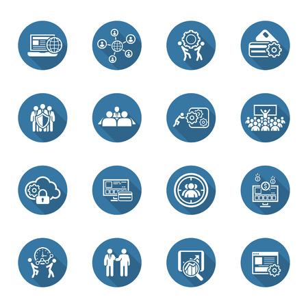 Design plat Icons Set. Affaires et des finances. Illustration isolé. Vecteurs