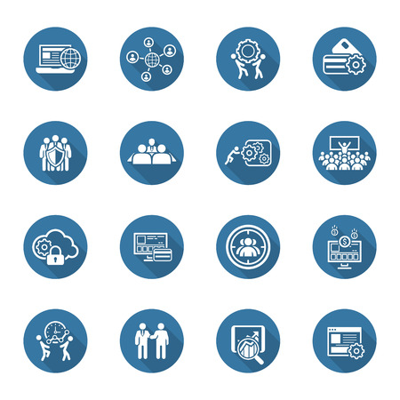 Flat Design Icons Set. Business and Finance. Isolated Illustration. Vetores
