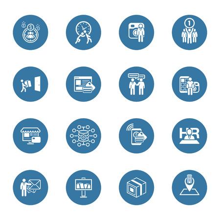 Piso de diseño de conjunto de iconos. Negocios y finanzas. Ilustración aislada.