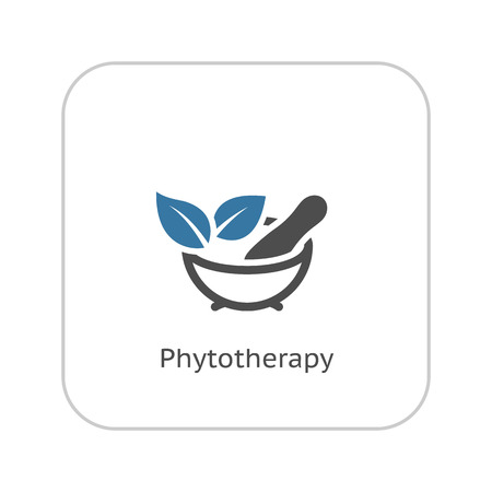 Phytotherapy Icon with Leaves. Flat Design. Isolated.