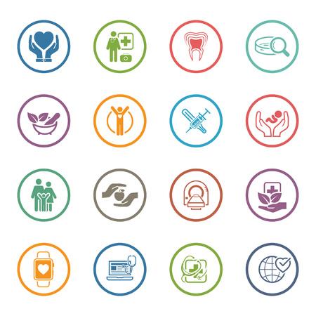 Medische en gezondheidszorg Icons Set. Plat ontwerp. Geïsoleerde illustratie. Stockfoto - 49754165