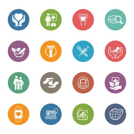Medische en gezondheidszorg Icons Set. Plat ontwerp. Geïsoleerde illustratie. Stockfoto - 49754168