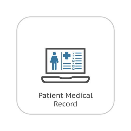 Icono de registro médico del paciente con el portátil. Diseño plano. Aislado.