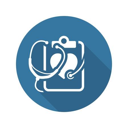 Heart Care icoon met stethoscoop. Flat Design Geïsoleerd. Vector Illustratie
