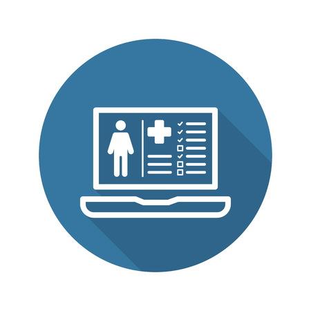 Paziente Icona Medical Record con il computer portatile. Design piatto. Isolato. Vettoriali